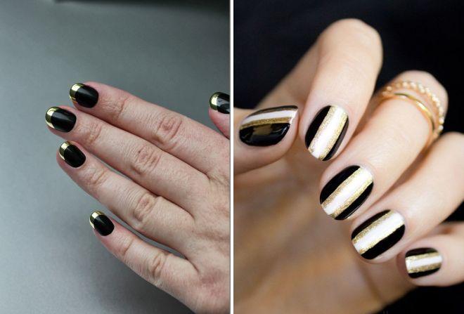 маникюр черный с золотом 2017