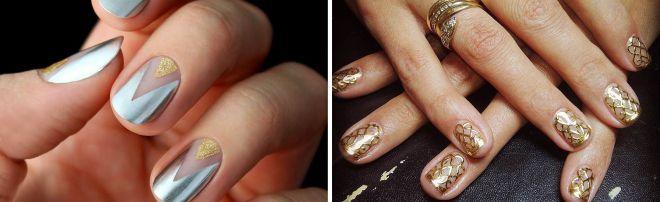 маникюр с золотом на короткие ногти