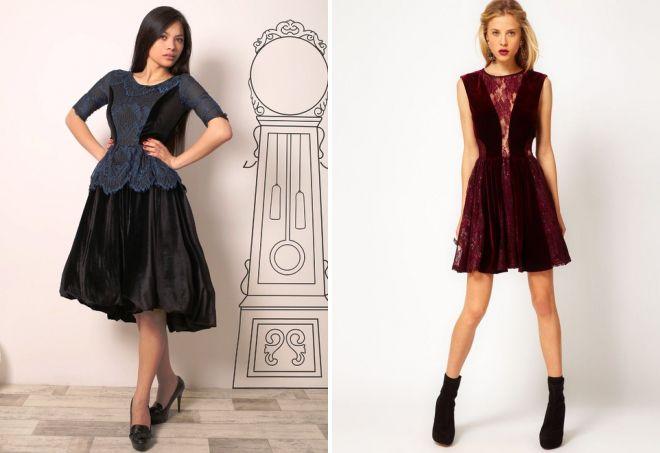бархатное платье с кружевом