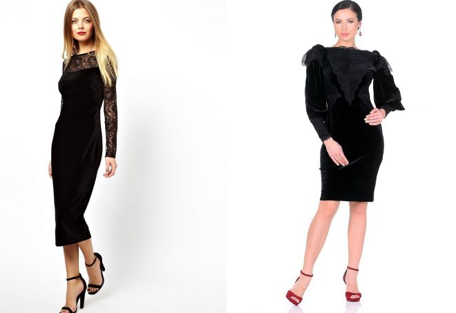 черное платье с кружевом из бархата