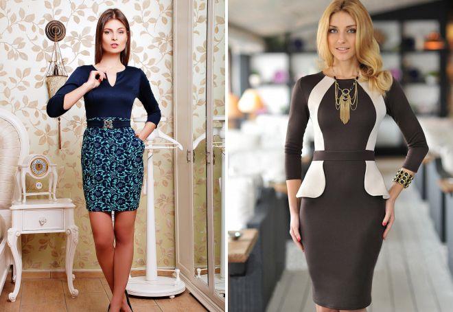 комбинированные офисные платья
