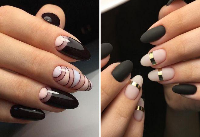 маникюр с полосками на длинные ногти