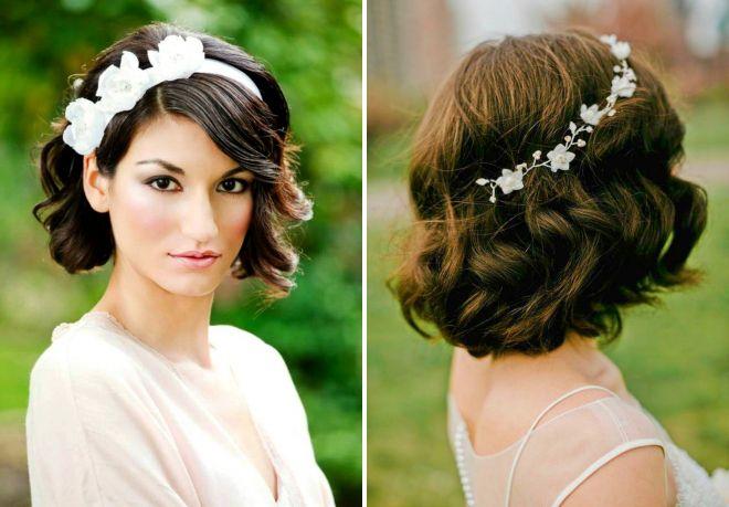 Свадебные прически с цветами на каре