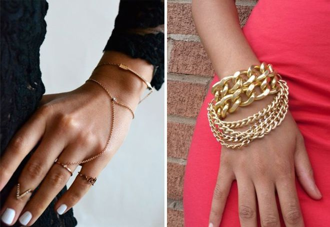 Женская золотая цепочка на руку
