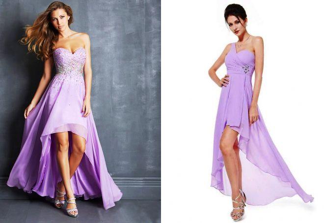 сиреневые платья со шлейфом