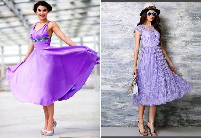 сиреневое платье в стиле ретро