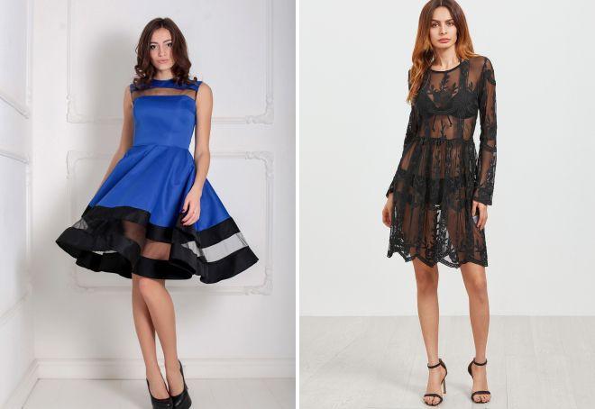 с чем носить прозрачное платье