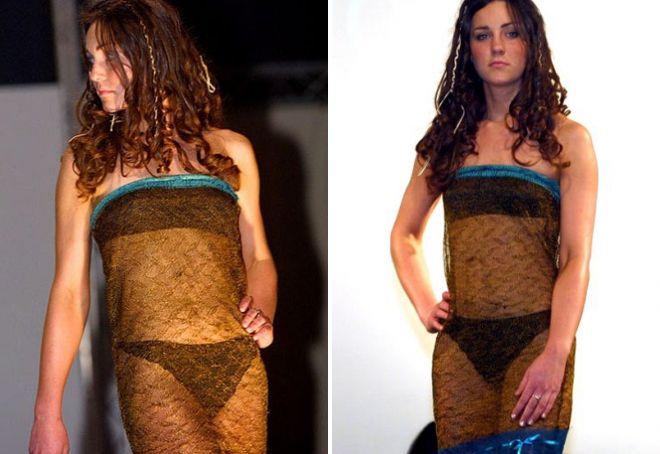 Кейт Миддлтон в черном прозрачном платье