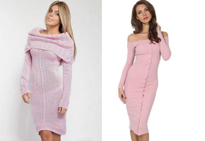розовое вязаное платье
