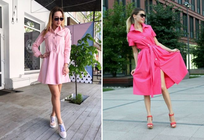 розовое джинсовое платье