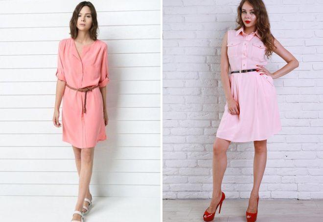 розовое платье рубашка