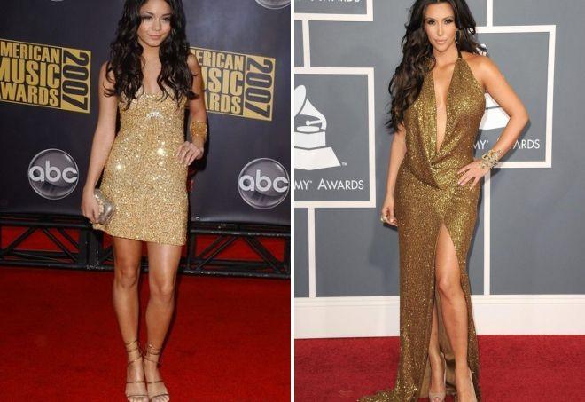с чем носить золотое платье