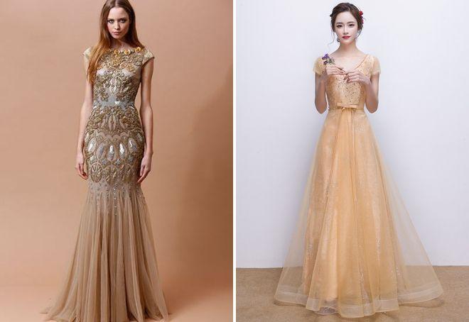 золотое вечернее платье в пол