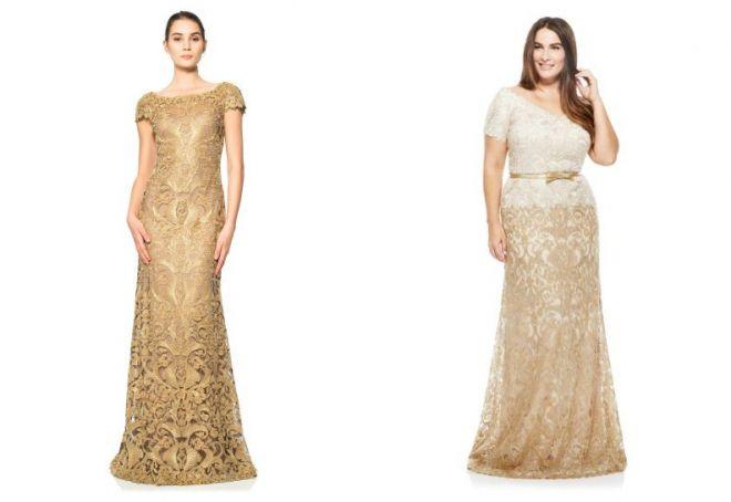 золотое кружевное платье
