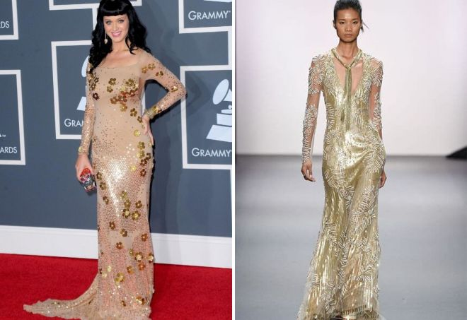 вечернее платье с золотой сеткой сверху