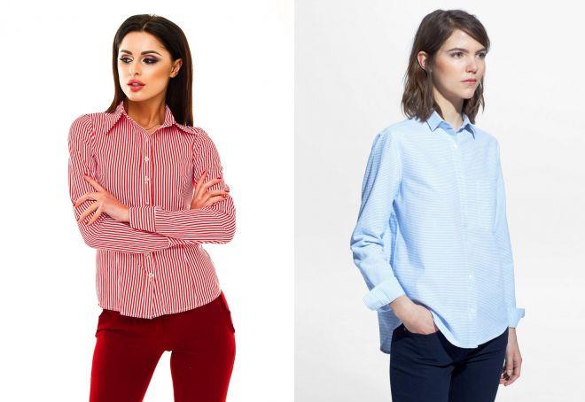 модные женские рубашки в полоску