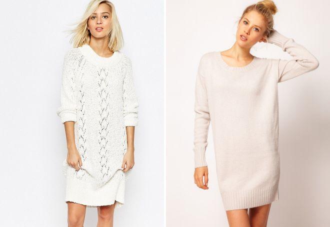 белый свитер платье