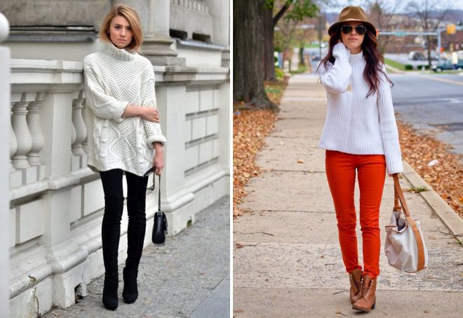 женский белый вязаный свитер