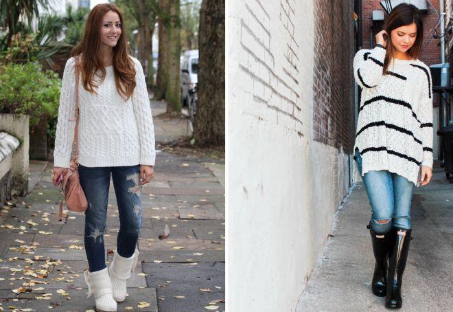 джинсы и белый свитер