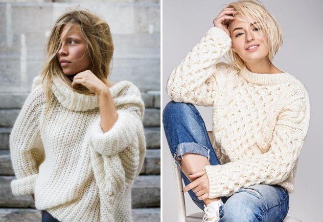 белый свитер крупной вязки