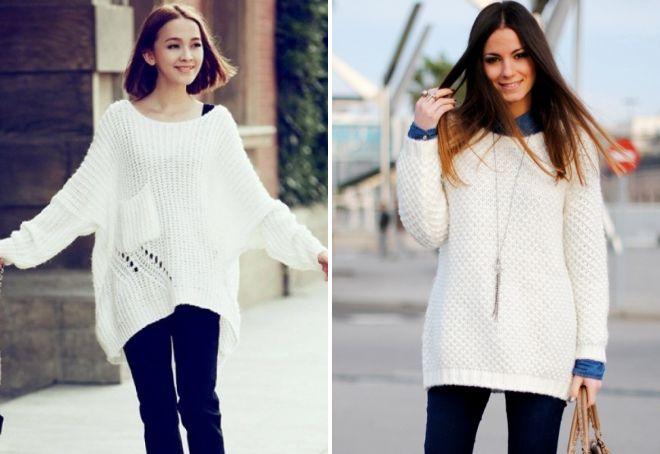 длинный белый свитер