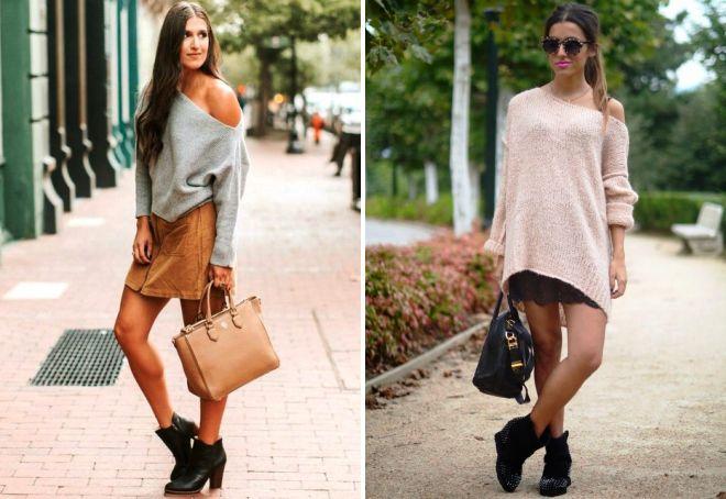 как носить свитер с открытыми плечами