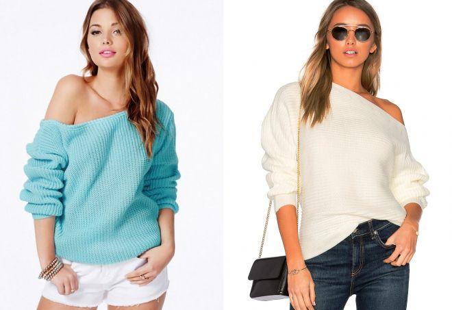 свитер оверсайз с открытым плечом