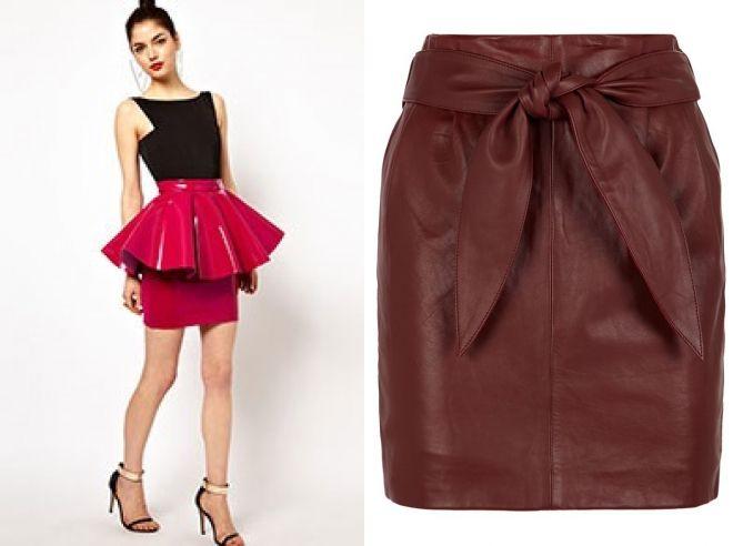 бордовая кожаная юбка 2017