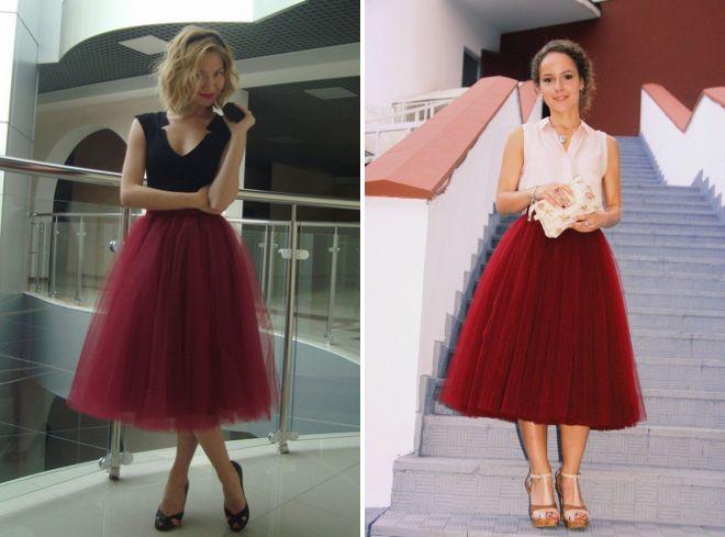 бордовая фатиновая юбка