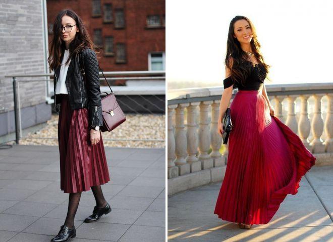 бордовая плиссированная юбка