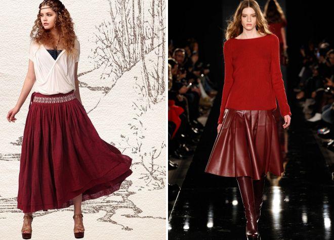 бордовая юбка в складку модная