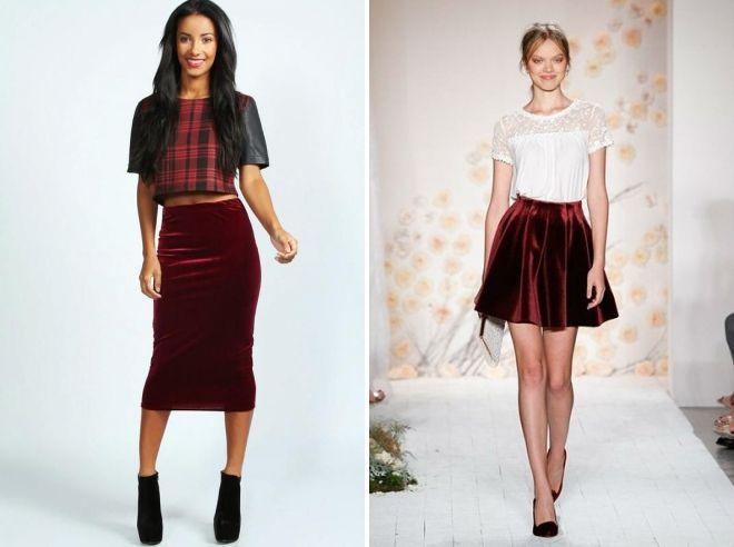 юбка бордового цвета