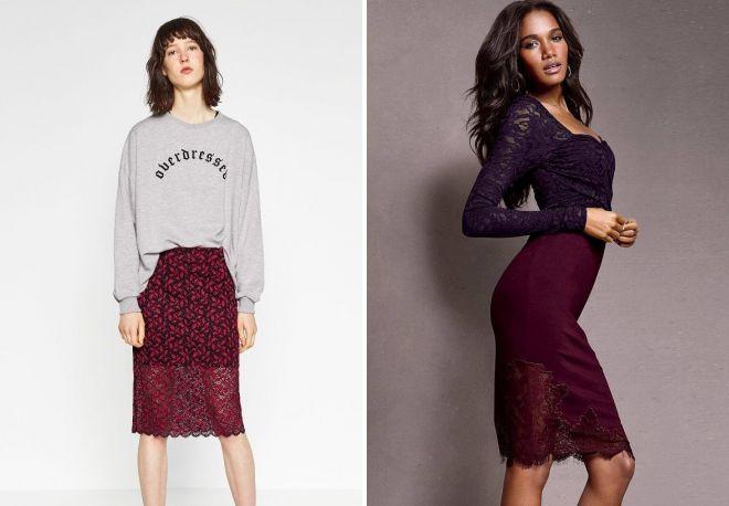 бордовая модная юбка с кружевом
