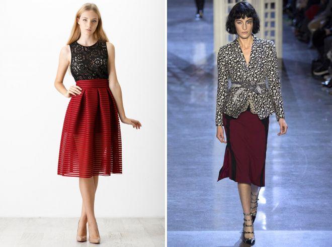 модные бордовые юбки 2017