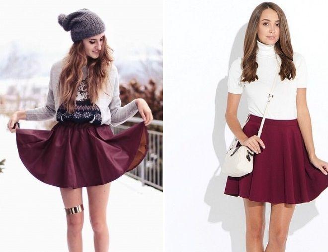 белая блузка и бодровая юбка клеш
