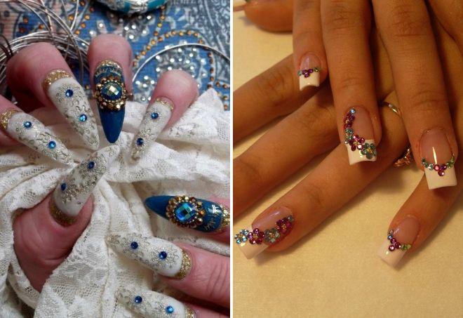 узоры из страз на ногтях