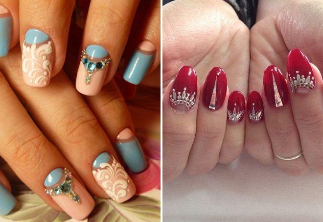 красивые ногти со стразами