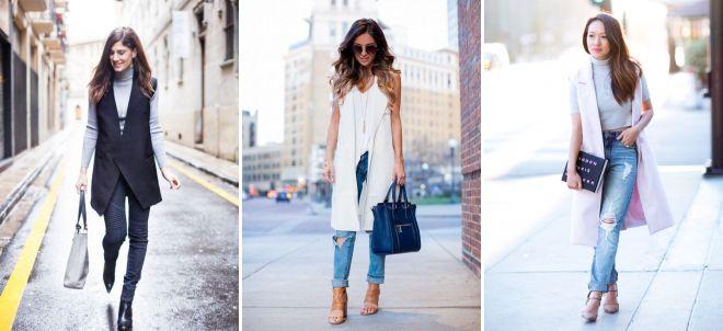 джинсы с жакетом без рукавов