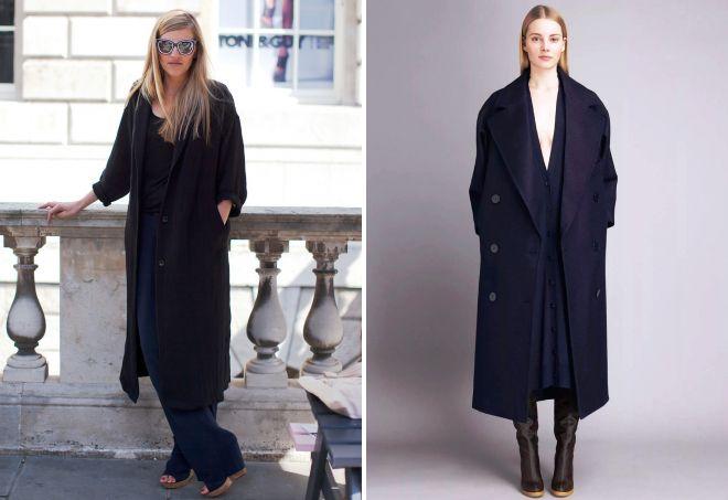 женское черное длинное пальто