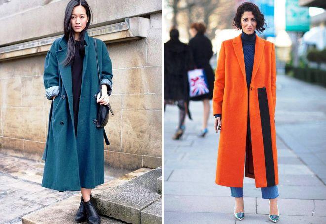 модные образы с длинным пальто