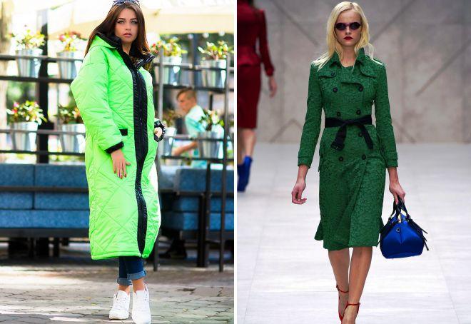 длинное зеленое пальто