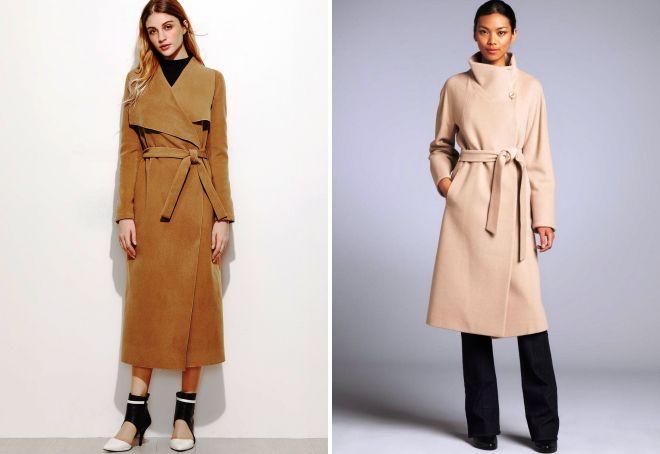 длинное женское пальто с запахом