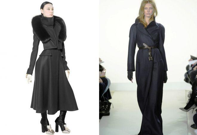 женское длинное пальто с капюшоном