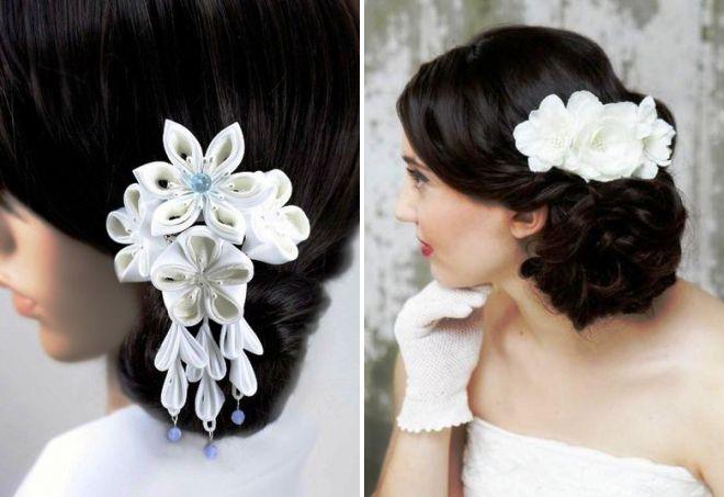 свадебные украшения для волос канзаши