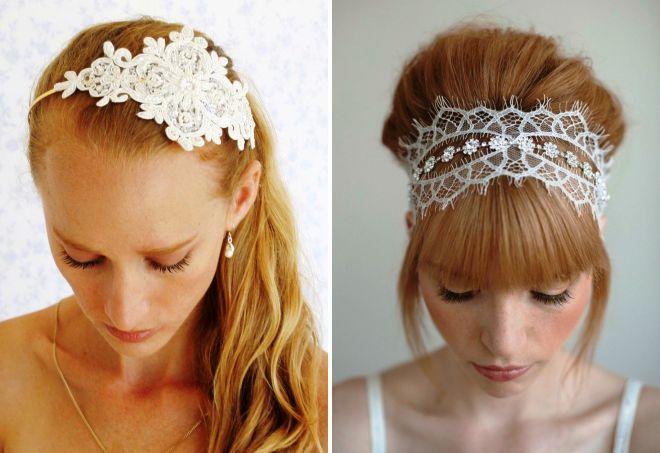 свадебные украшения в волосы из кружева