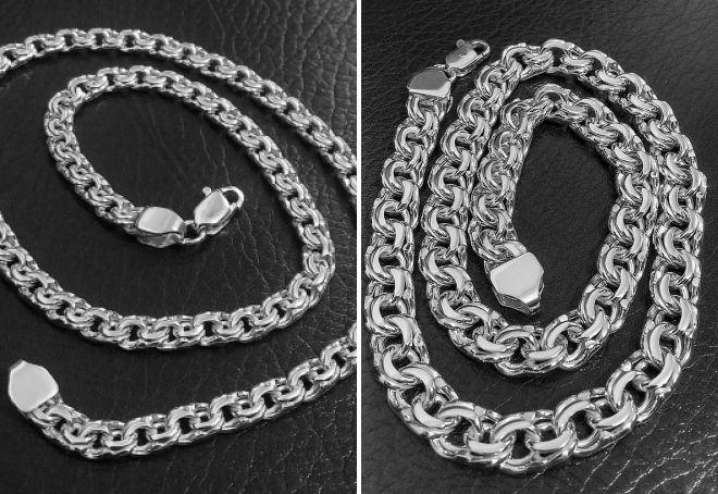 серебряная цепочка плетение бисмарк