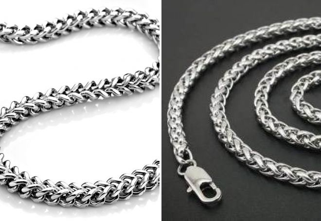 толстая серебряная цепочка