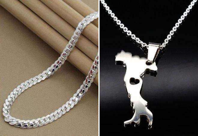модная серебряная цепочка