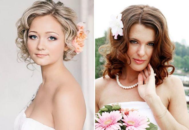свадебные прически с цветами на средние волосы