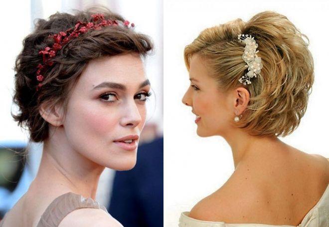 свадебные прически на короткие волосы с цветами